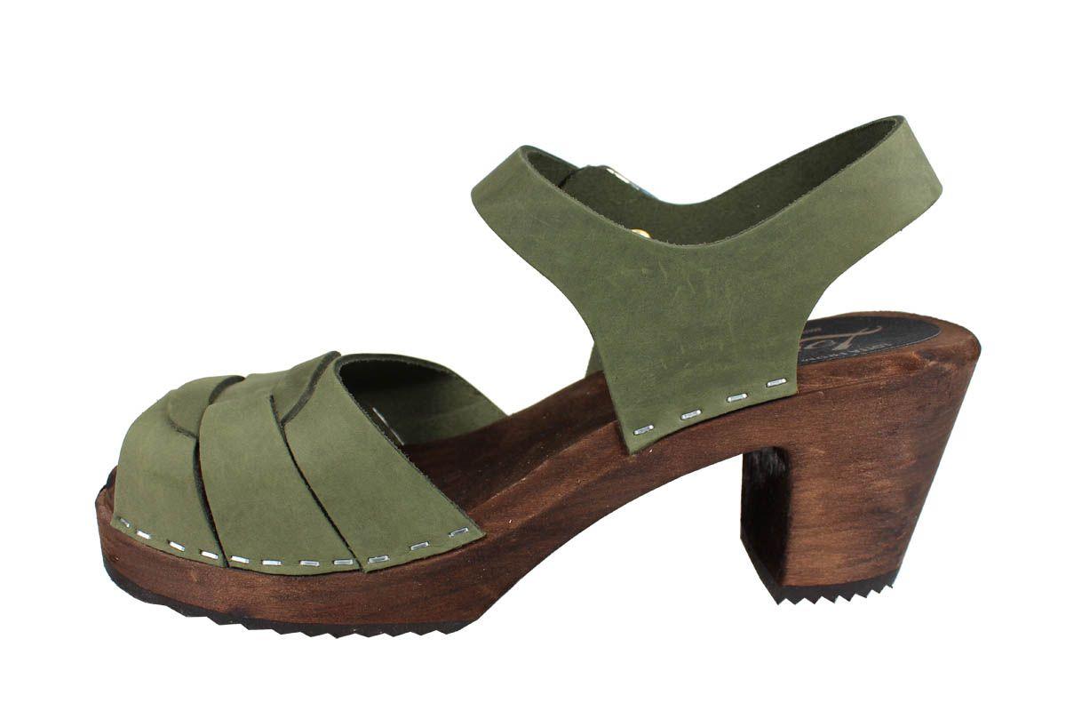 Peep Toe Clogs Green Oiled Nubuck on Brown Base