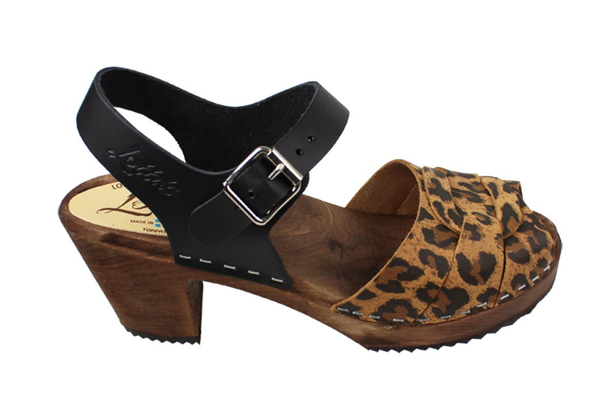 Peep Toe Clogs Leopard Print and Black on Brown Base
