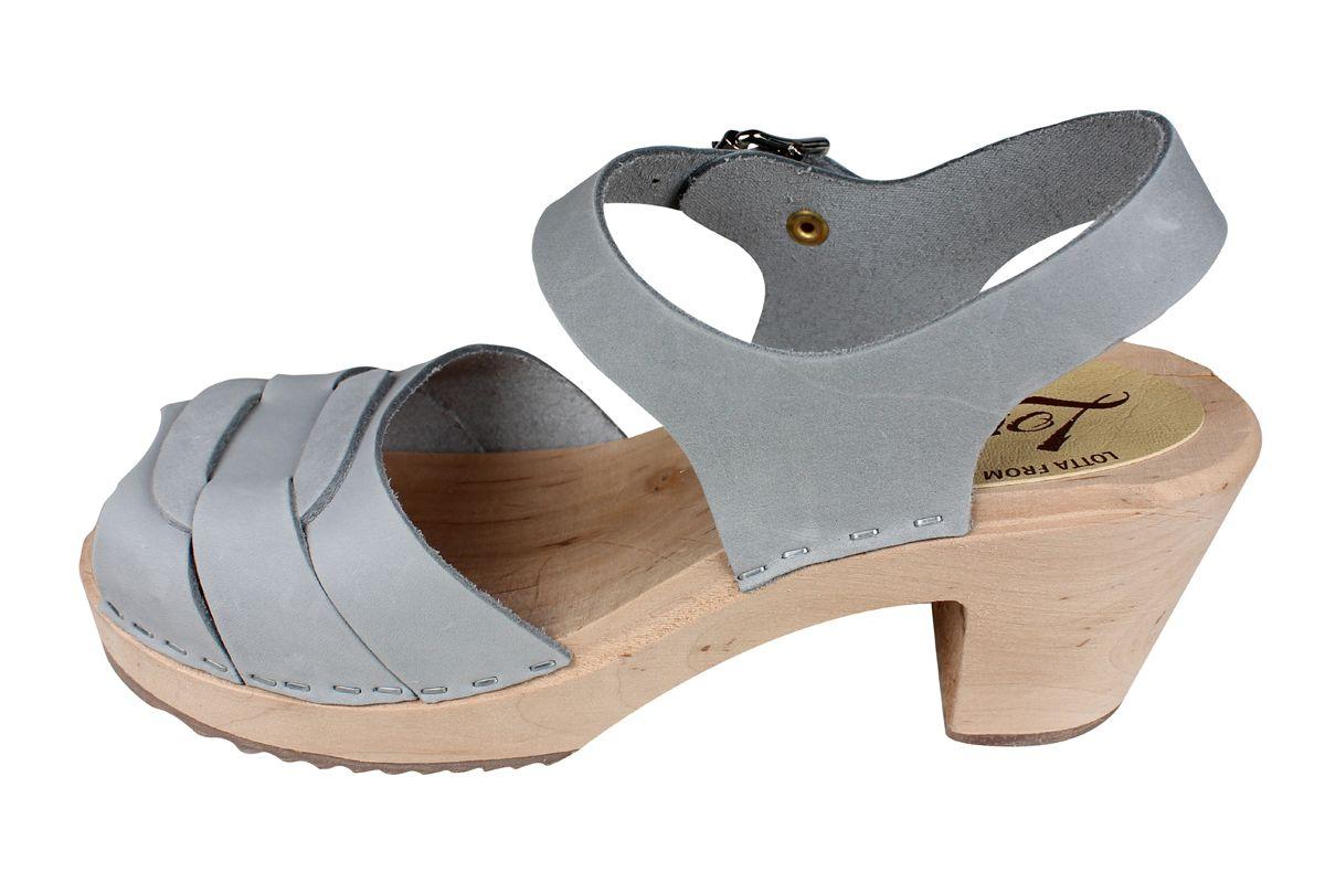 Peep Toe Sea Grey Oiled Nubuck Clogs Seconds