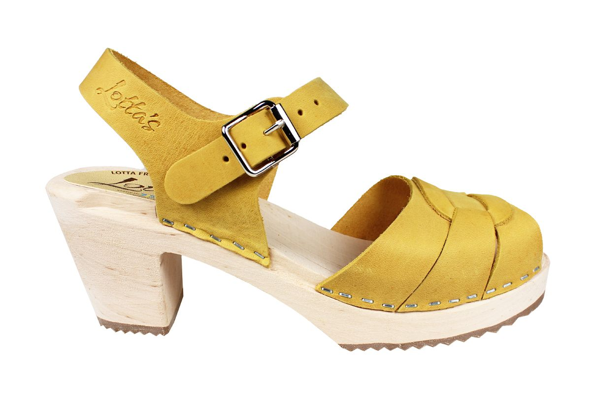 Peep Toe Clogs Yellow Oiled Nubuck Seconds