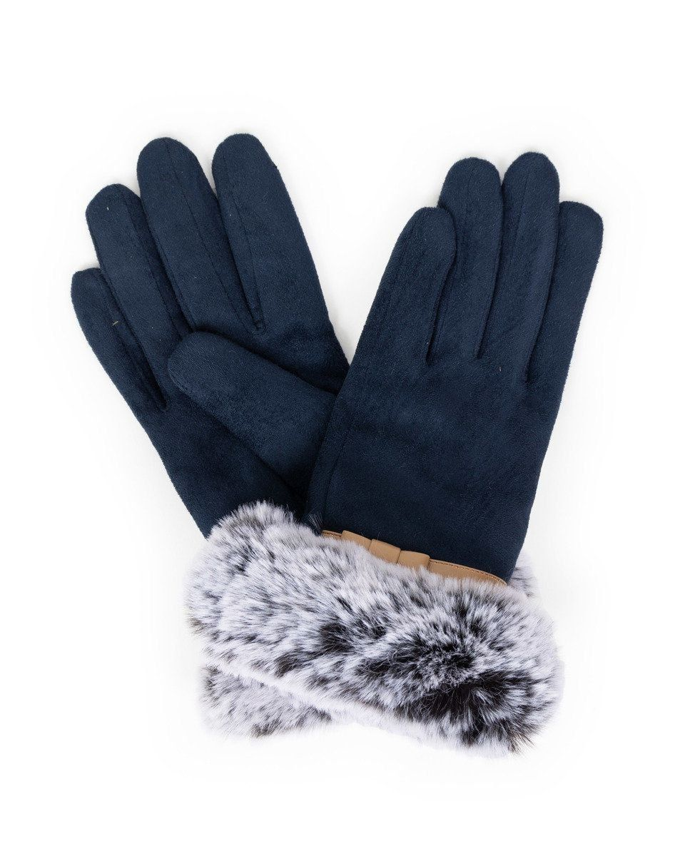 Powder Penelope Faux Suede Gloves in Navy