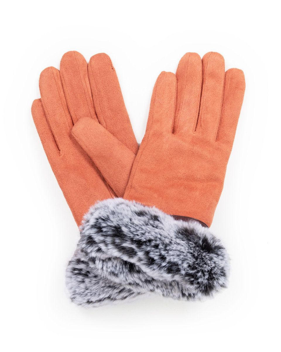 Powder Penelope Faux Suede Gloves in Coral