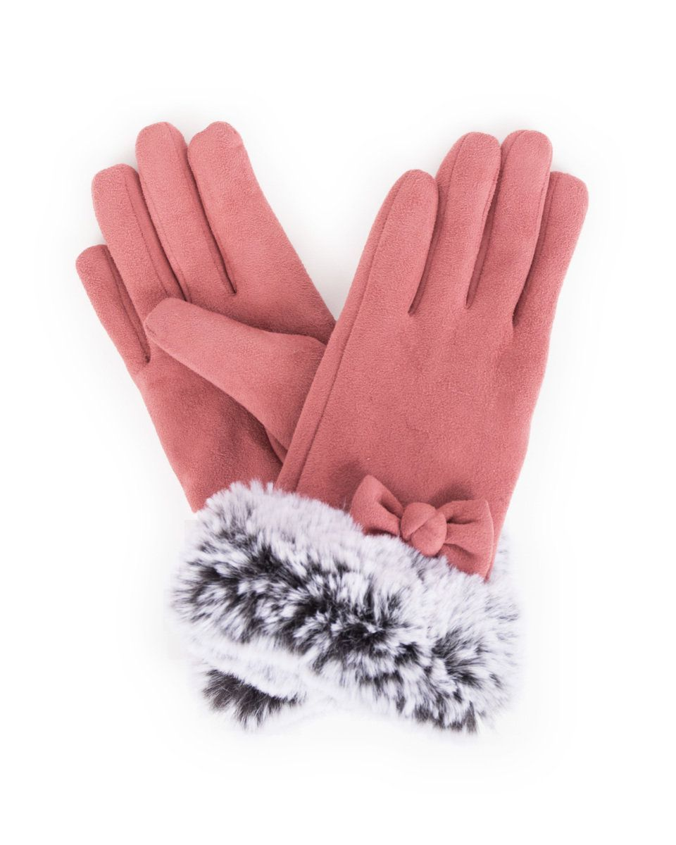Powder Phillipa Lined Faux Suede Gloves in Rose