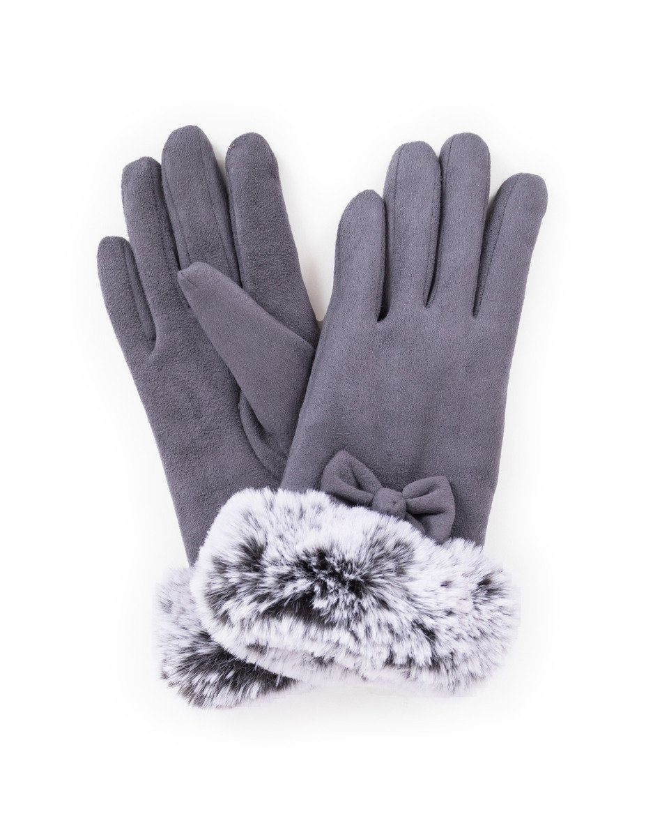 Powder Phillipa Lined Faux Suede Gloves in Charcoal