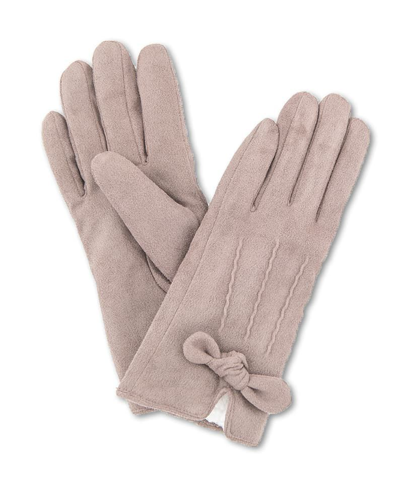 Powder Phoebe Lined Faux Suede Gloves in Stone