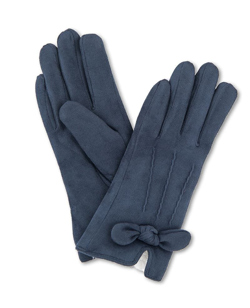 Powder Phoebe Lined Faux Suede Gloves in Navy
