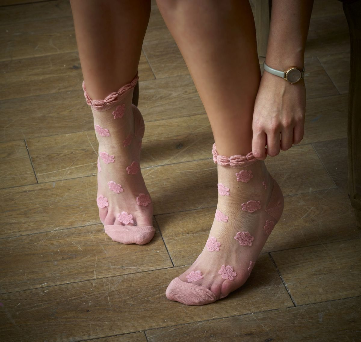 Cutie Pop Pink Rose Sheer Socks X 2