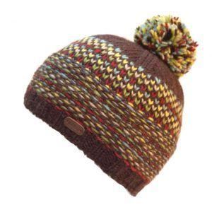 Kusan Tik Tik Bobble Hat in Brown and Yellow