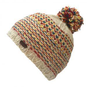 Kusan Tik Tik Bobble Hat in Oatmeal and Red