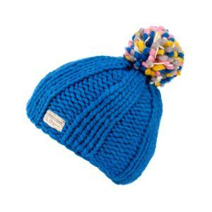 Kusan Thick Knit Moss Yarn Bobble Hat in Blue