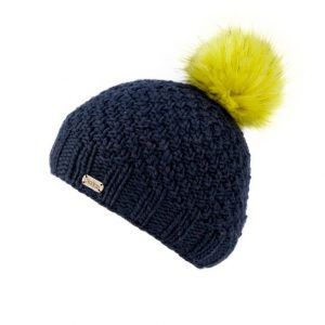 Kusan Bobble Luxury Faux Fur Bobble Hat in Navy