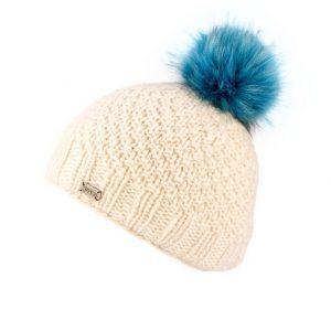 Kusan Luxury Faux Fur Bobble Hat in White