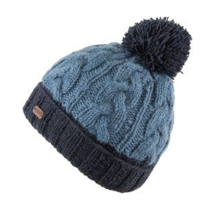 Kusan Cable Turn up Bobble Hat in Navy