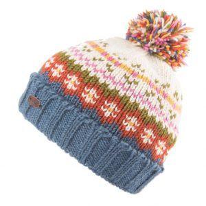 Kusan Turn up Bobble Hat in Denim