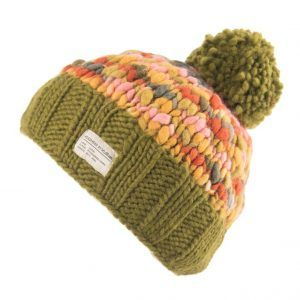Kusan Thick Knit Bobble Hat in Khaki