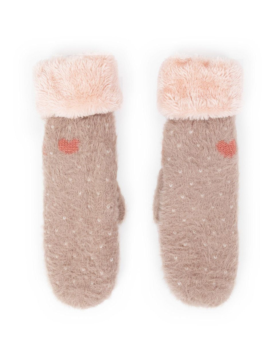 Powder Cosy Polly Mittens in Stone