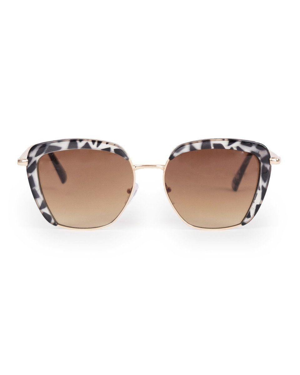 Powder Bardot Sunglasses in Black & White Tortoiseshell