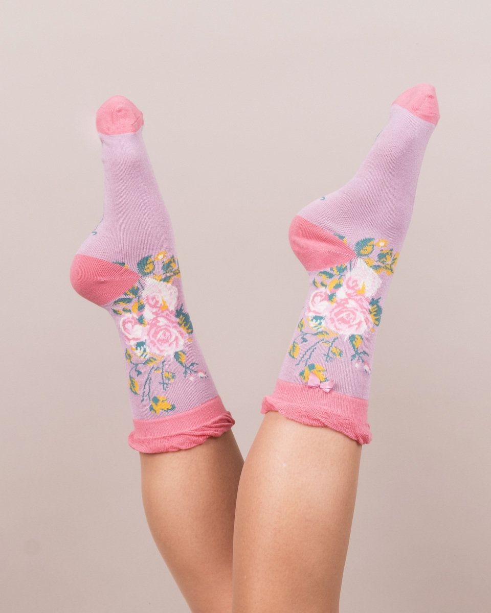 Climbing Rose Ankle Socks