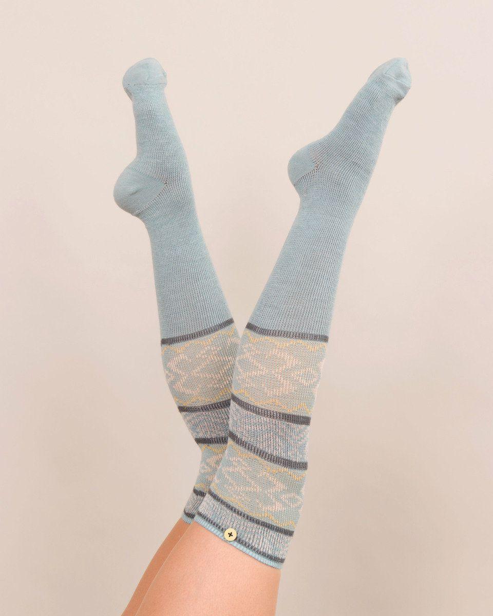 Powder Fair Isle Long Socks in Ice