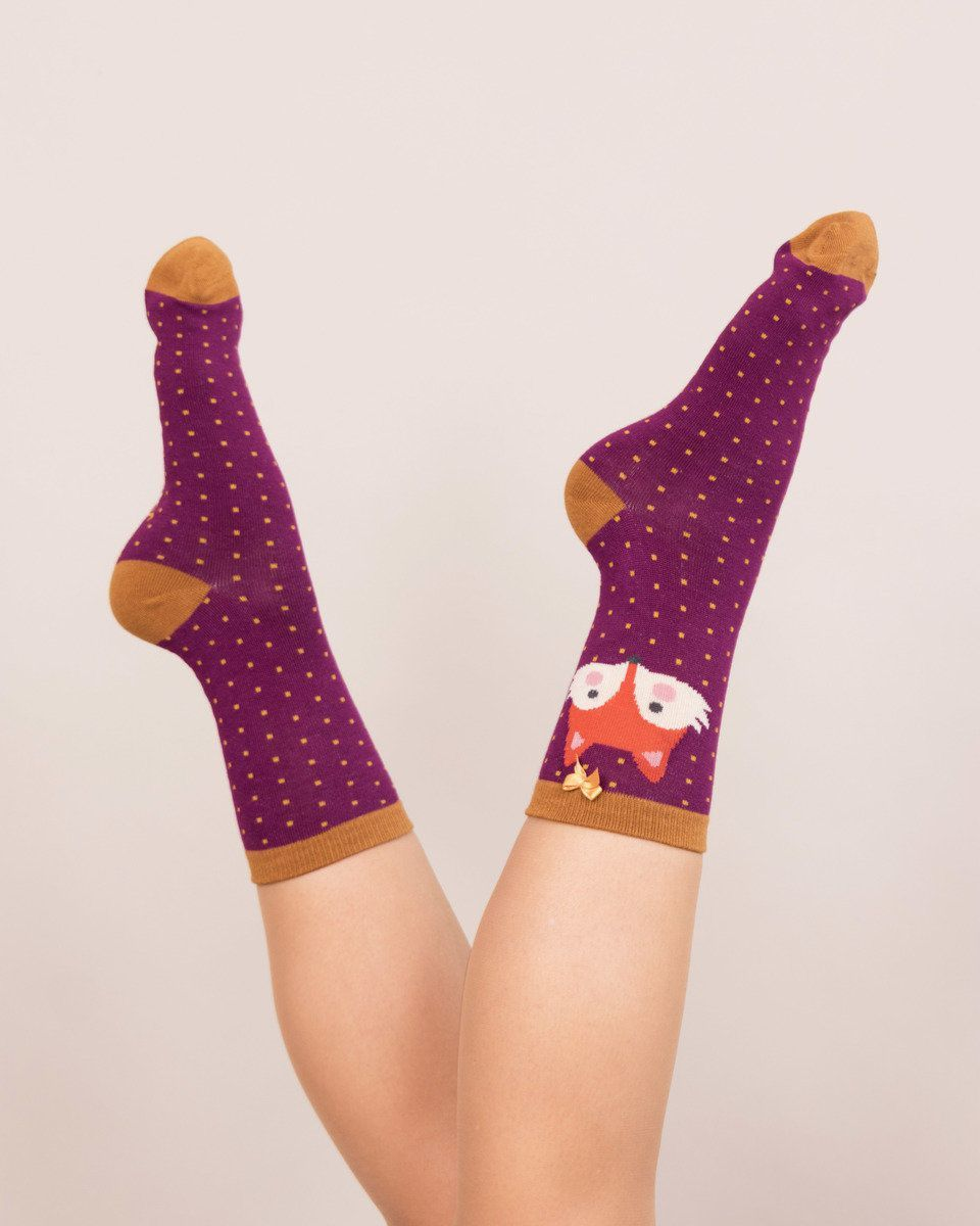 Powder Fox Ankle Sock in Damson