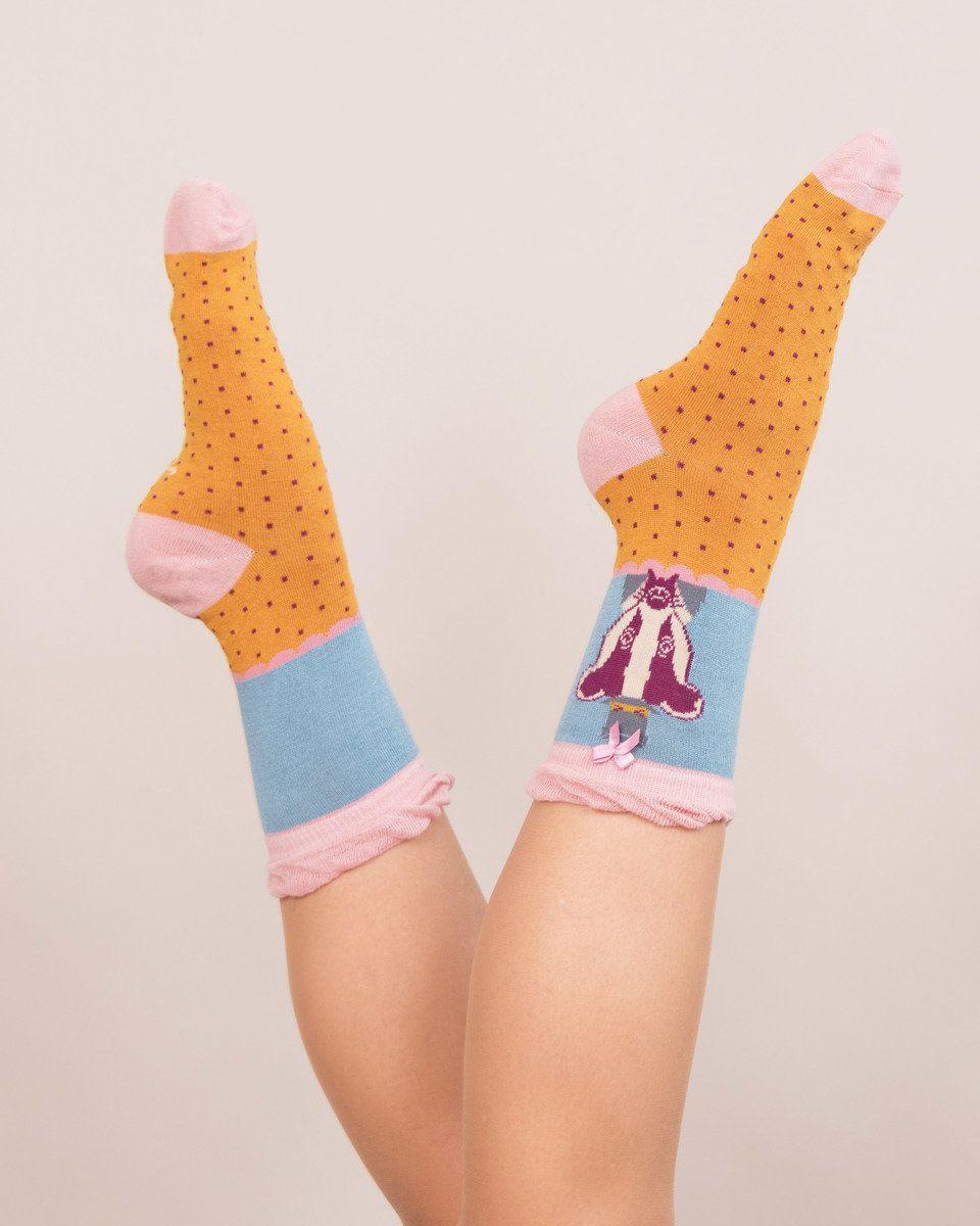 Powder Mr Badger Ankle Socks in Mustard