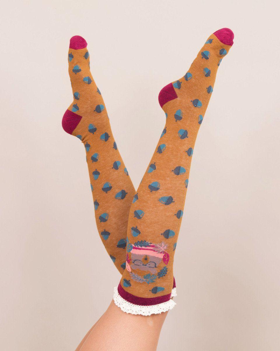 Powder Nerd Bear Knee High Socks in Mustard