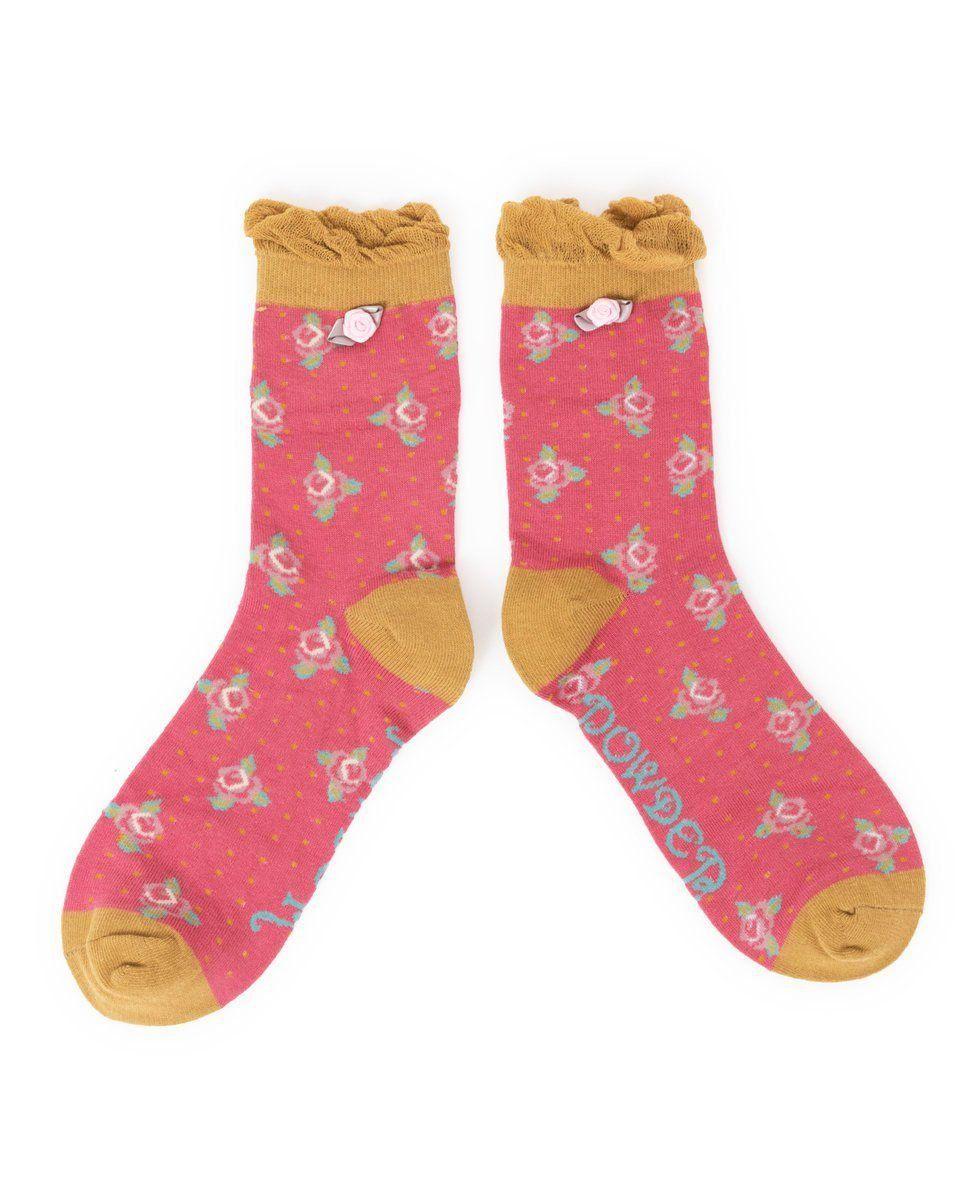 Powder Rosebud Sock in Berry
