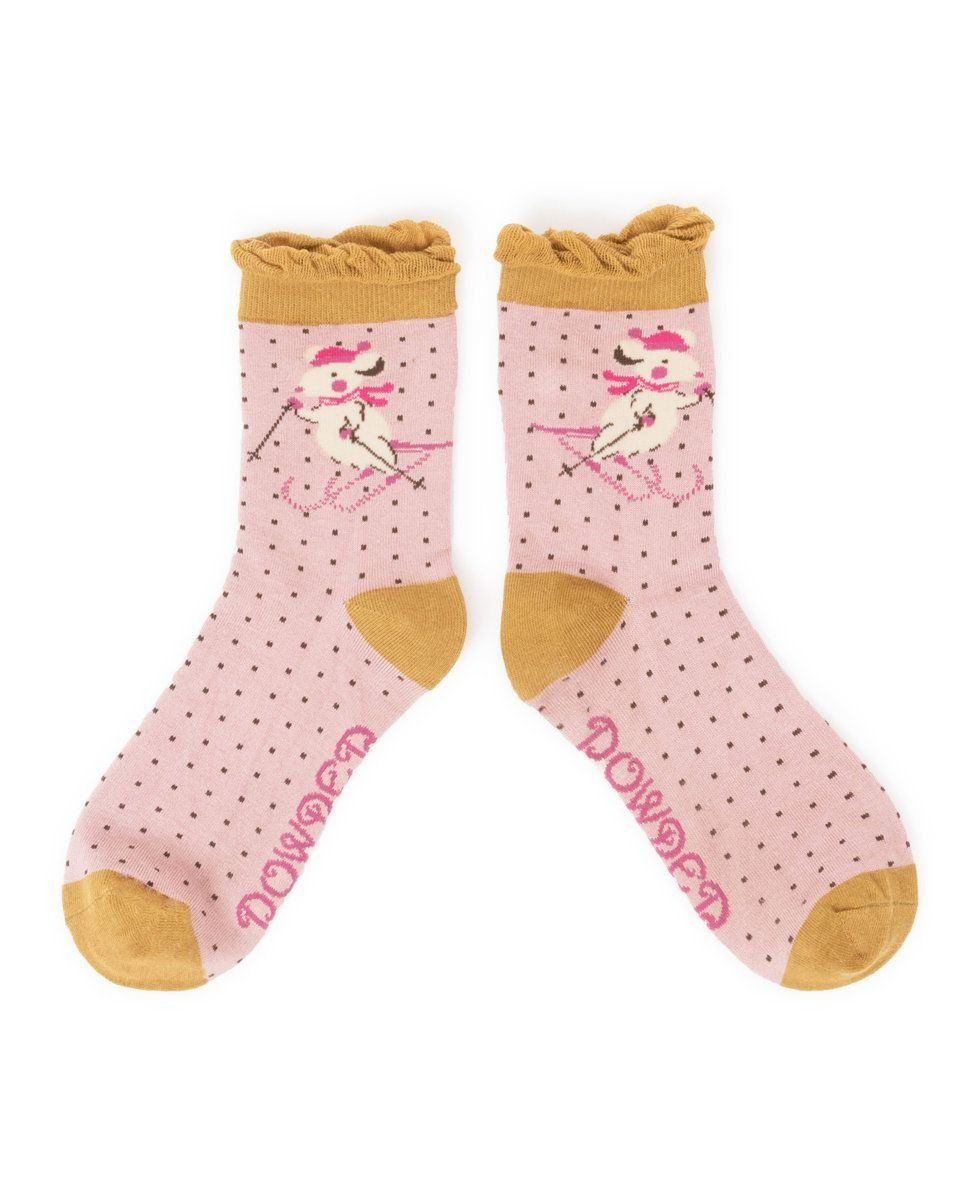 Skiing Mice Ankle Socks in Pink