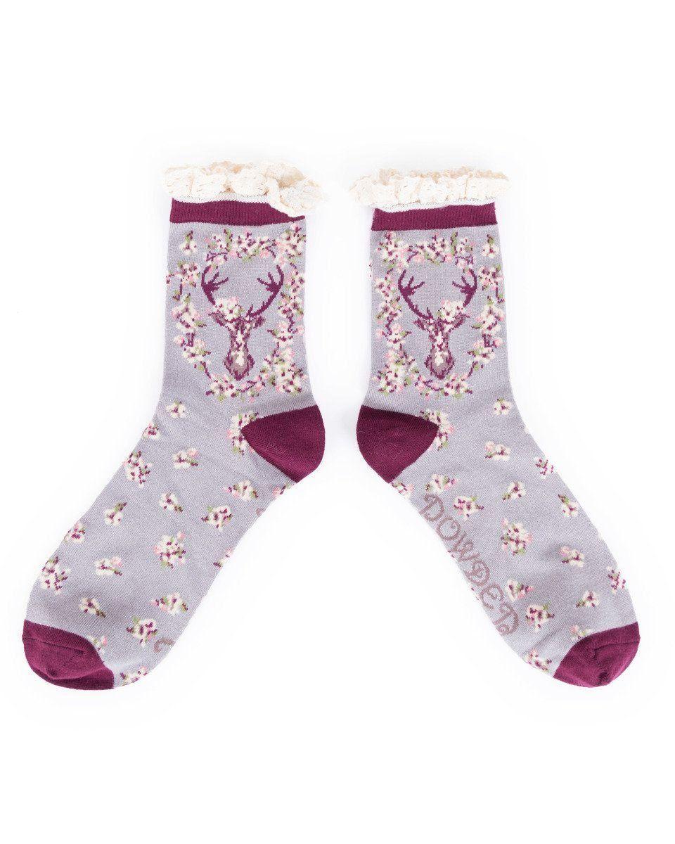 Powder Stag Ankle Sock in Slate