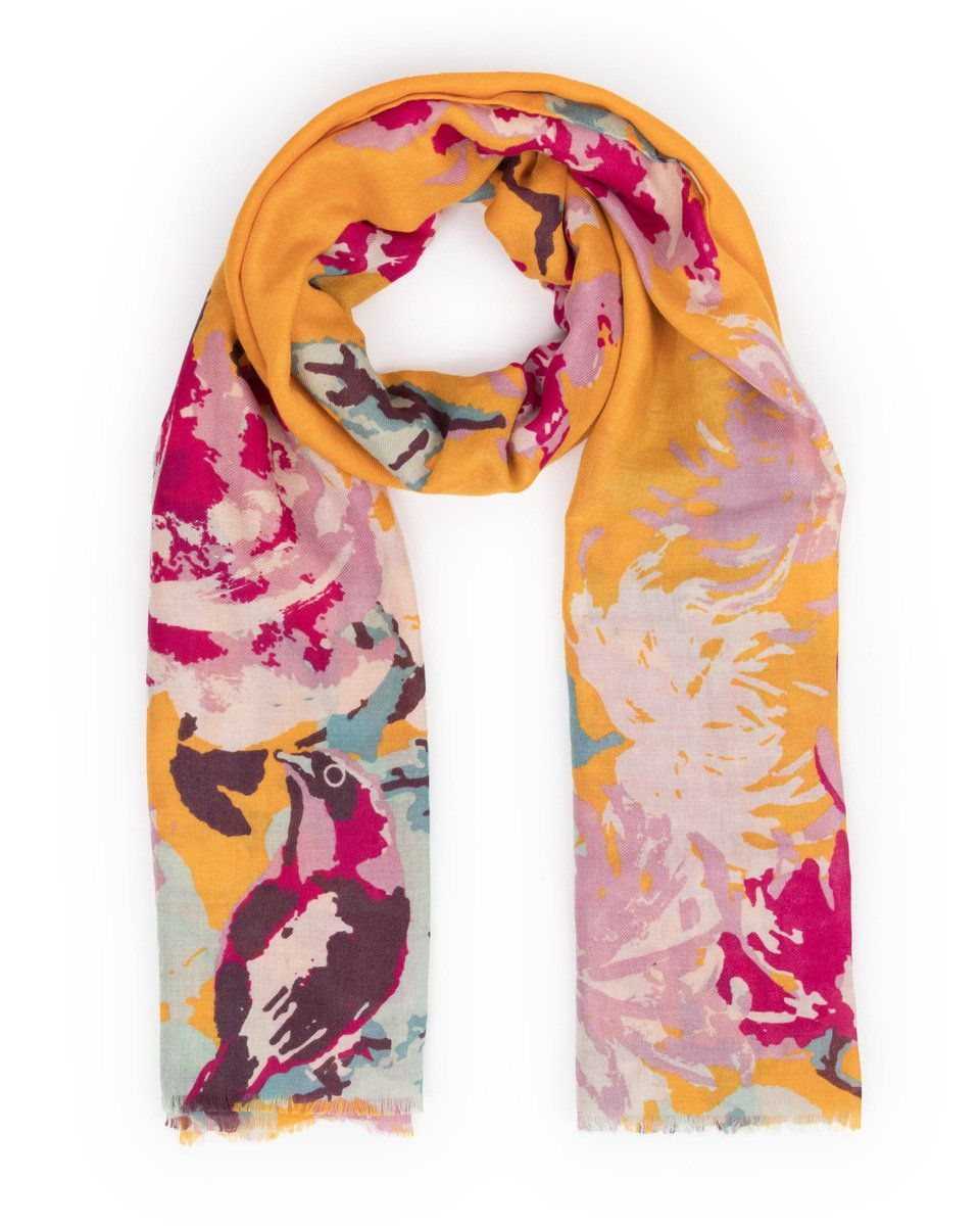 Powder Peony & Finch Print Scarf in Mustard