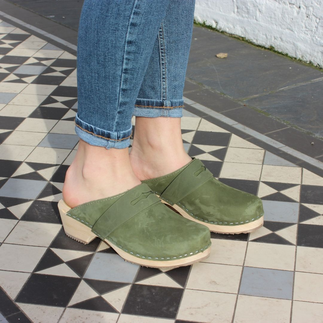Classic Penny Clog Green Oiled Nubuck Leather
