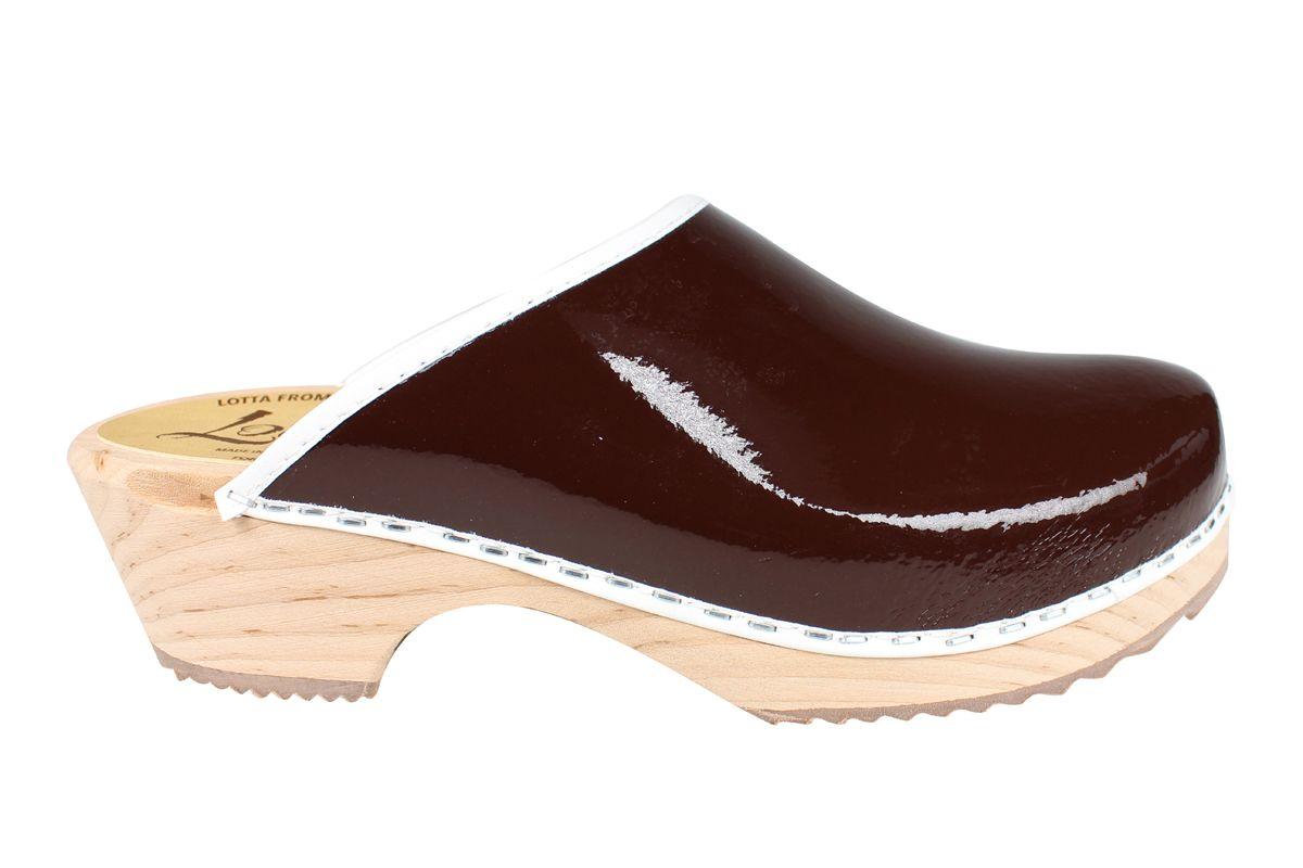 Classic Retro Patent Brown Clogs