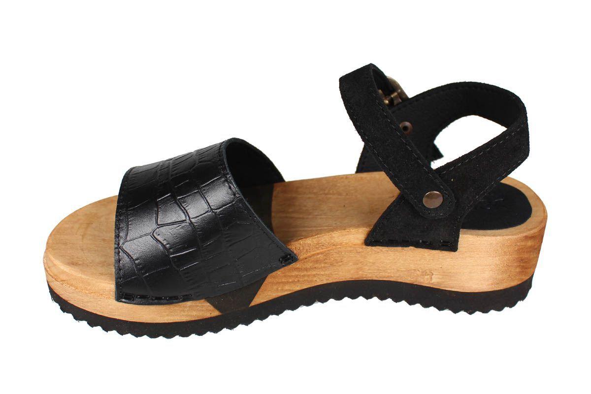 Sanita Rhoda Flex Black Embossed Leather and Suede