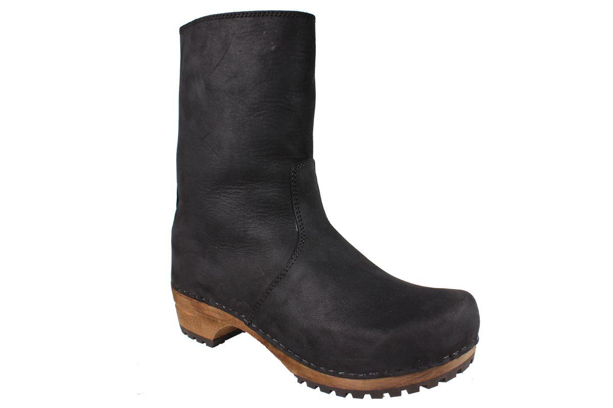Sanita Risotto Boots in Black Soft Oil Leather