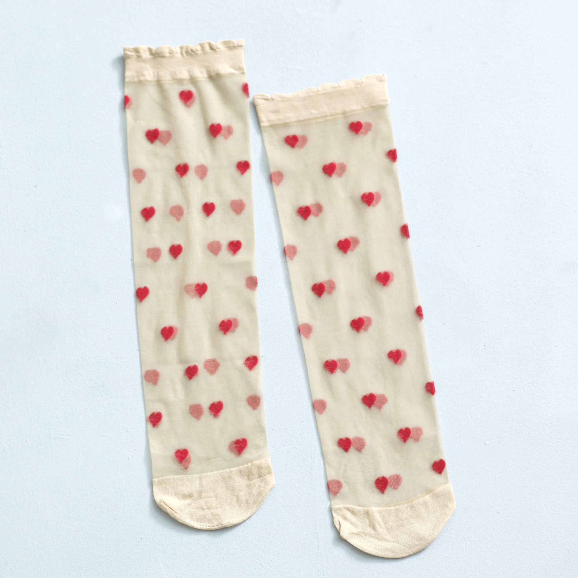 Romantic Nude Red Heart Sheer Socks X 2