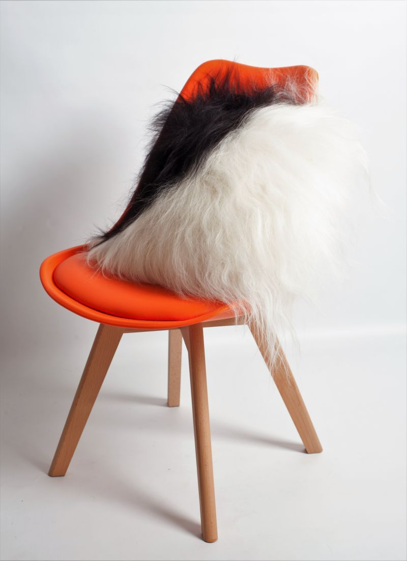 Sheepskin Cushion Long Spotted with Fabric