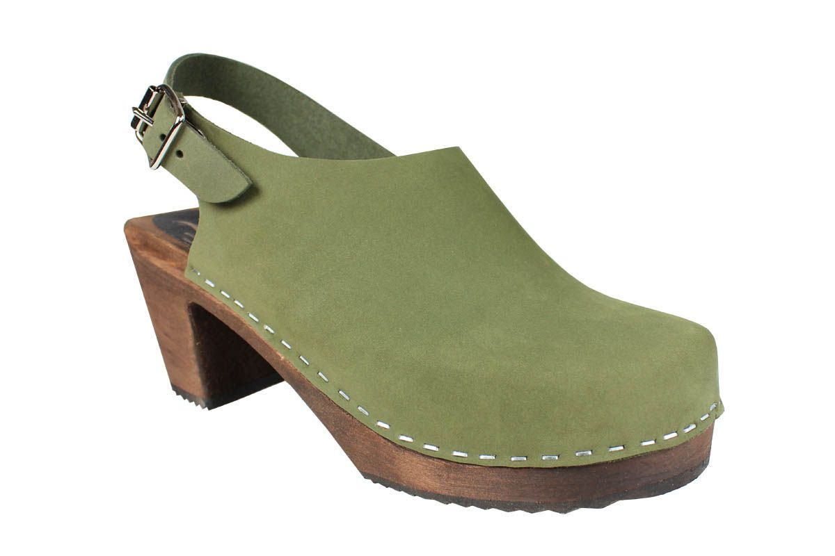 Lotta Sling Green Oiled Nubuck on Brown Base