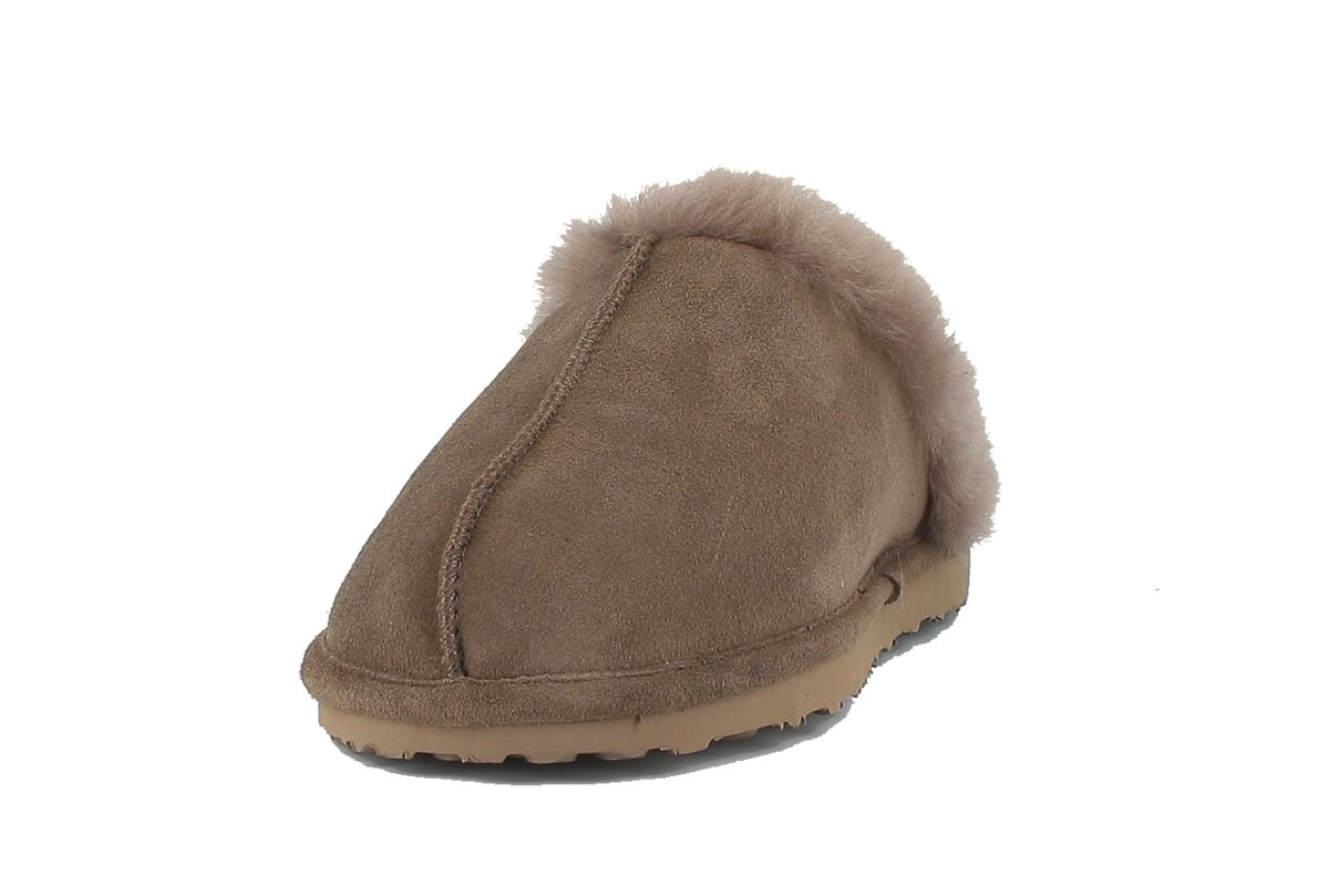 Men's Sheepskin Torino Mule Slippers in Stone with Fur Trim