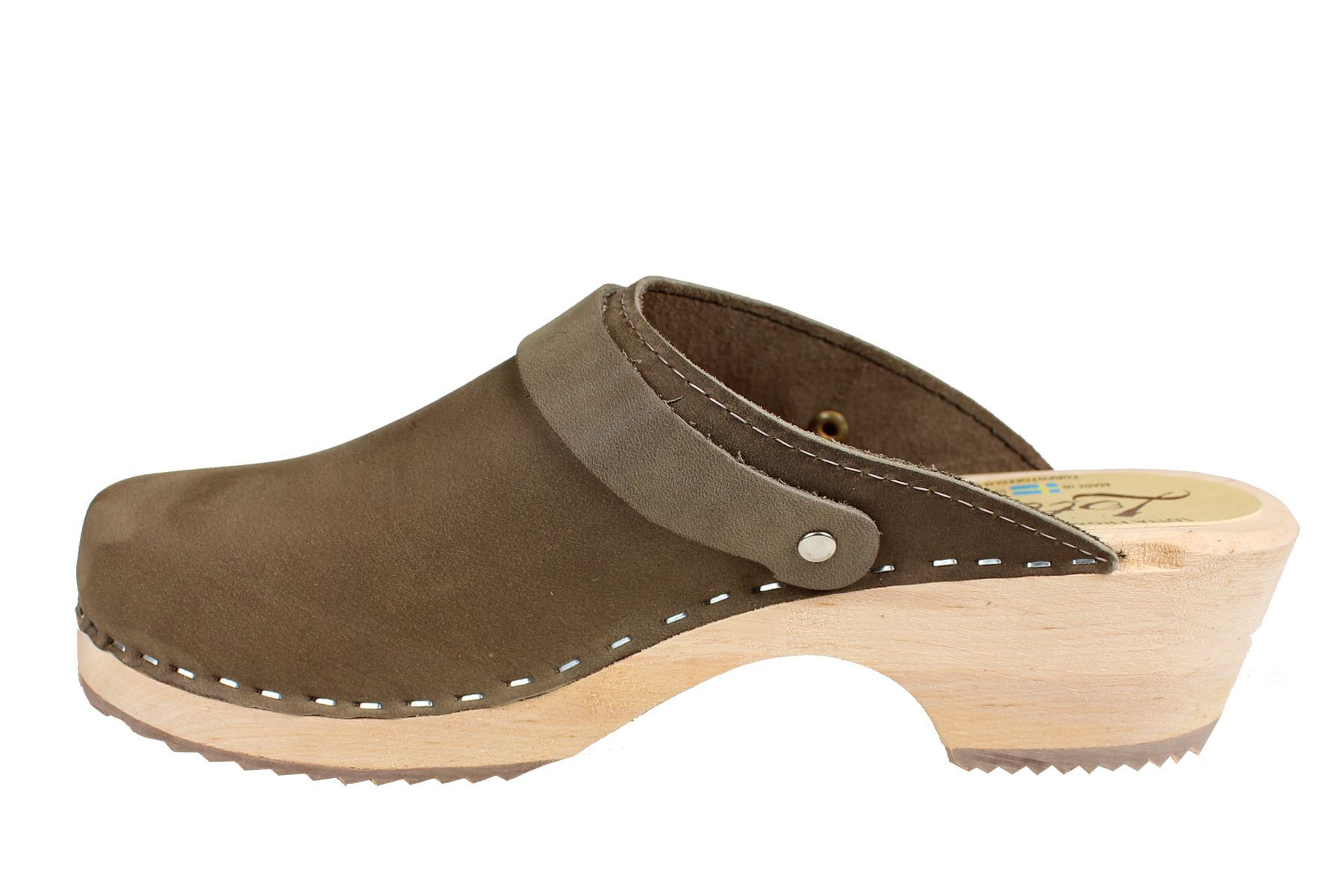 Classic taupe clogs with strap