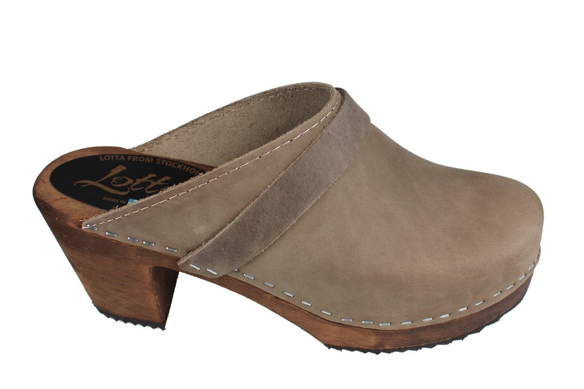 High Heel Classic Clog in Taupe Oiled Nubuck on Brown Base with Strap