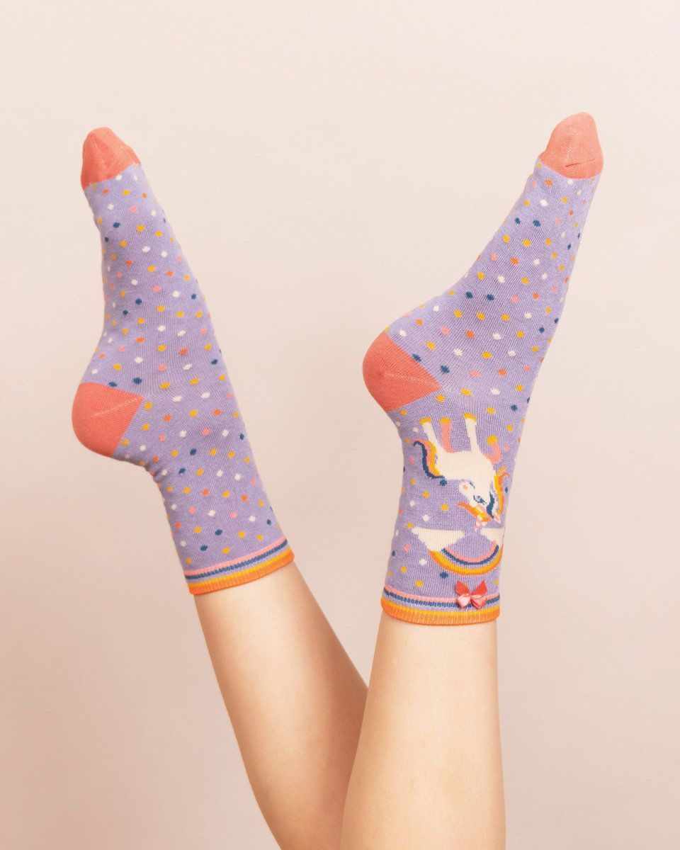 Powder Unicorn Ankle Sock in Lilac