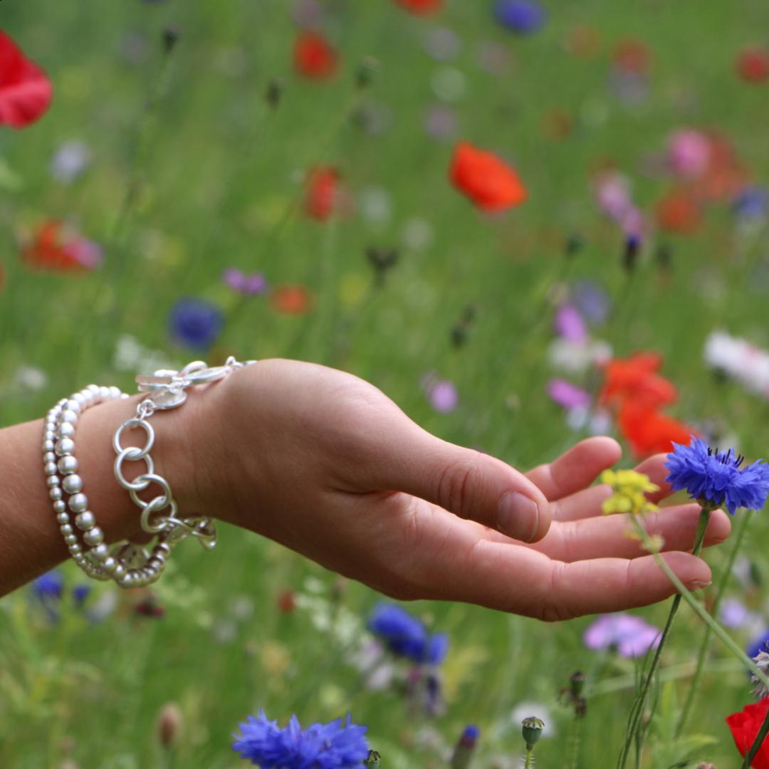 Sence Essentials Matt Silver Pearls Bracelet