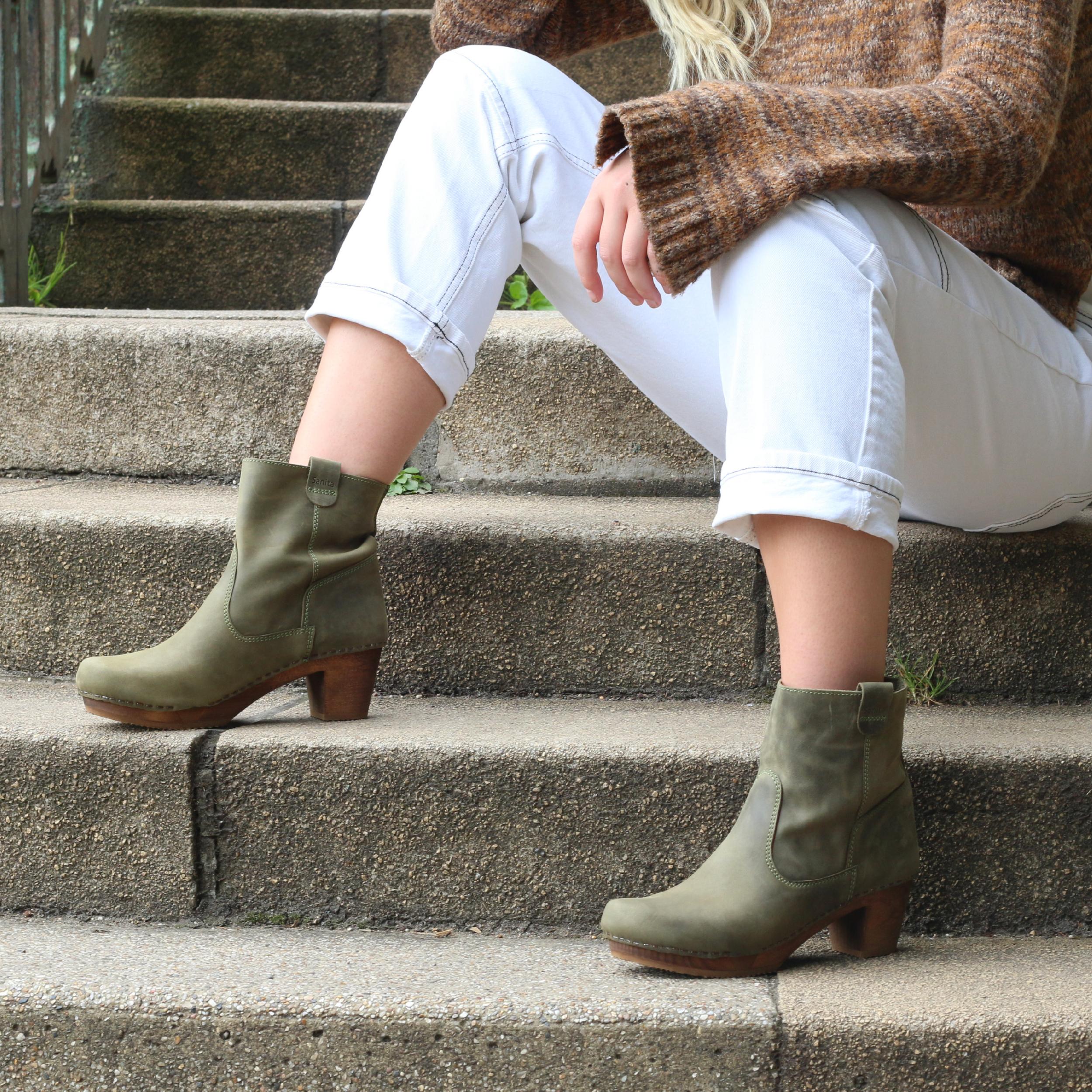 Sanita Juna Wooden Clog Boot in Embossed Leather Moss Green