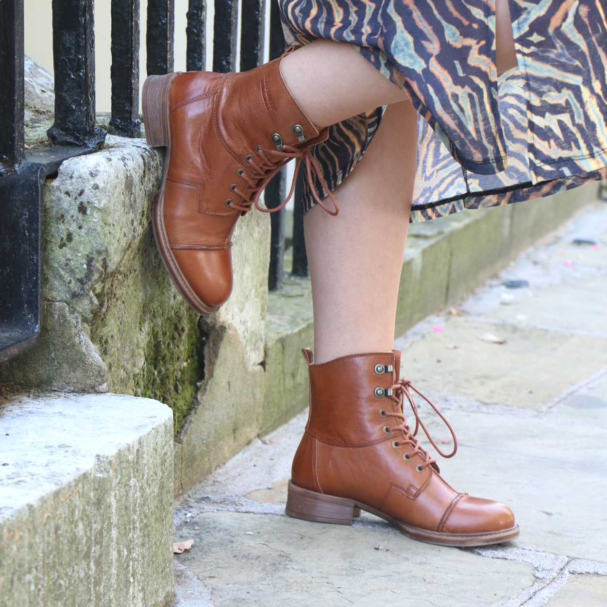 Pandora Lace-Up Boot in Cognac