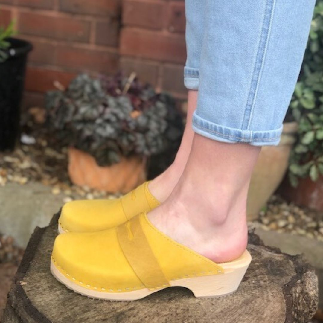 Classic Penny Clog Yellow Oiled Nubuck Leather Seconds