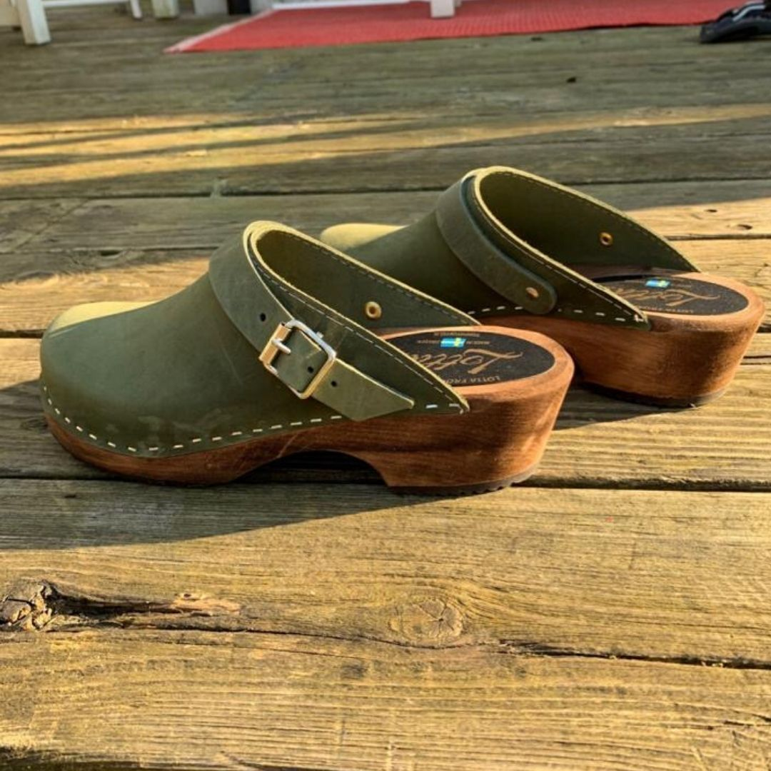 Classic Green Oiled Clogs with strap on Brown Base