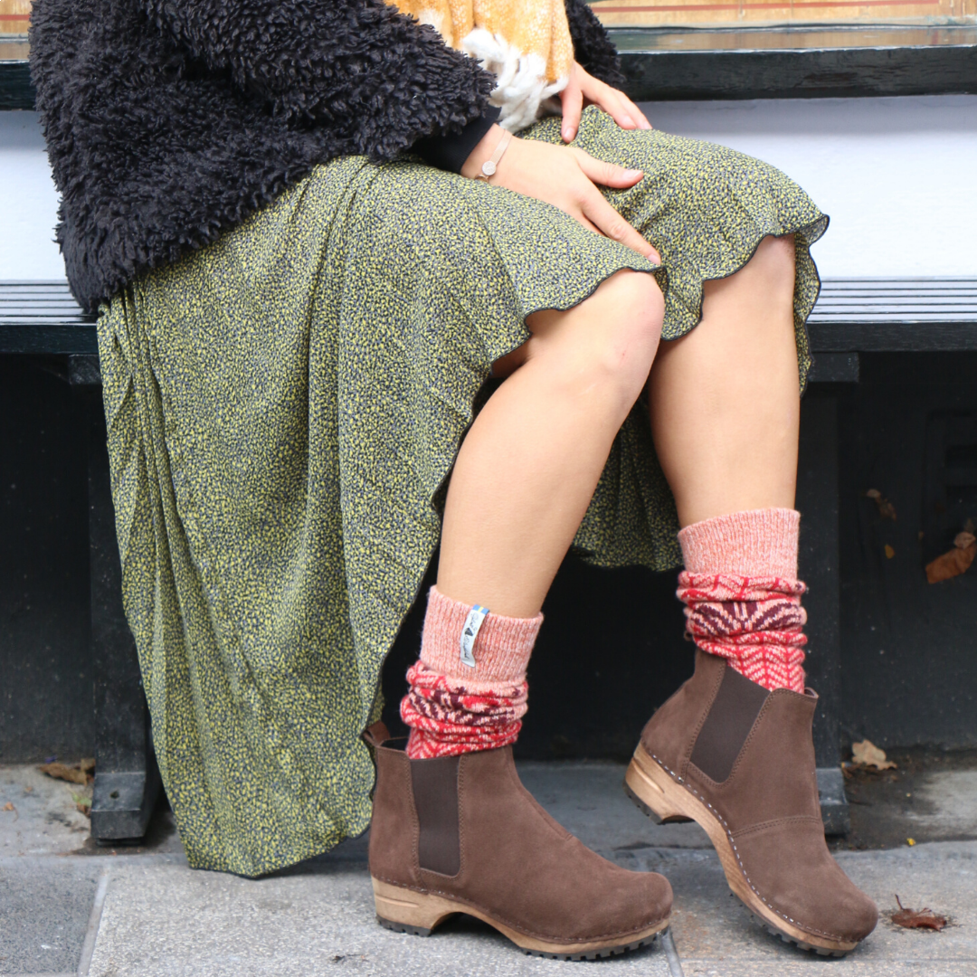 Lotta's Jo Clog Boot in Suede Leather in Antique Brown