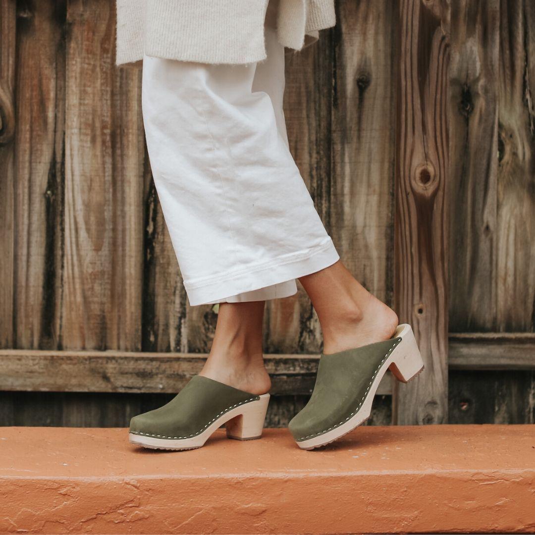 High Heel Classic Clog Green Oiled Nubuck Seconds