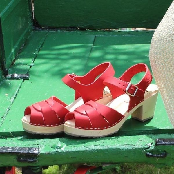 Peep Toe Clogs Red Leather
