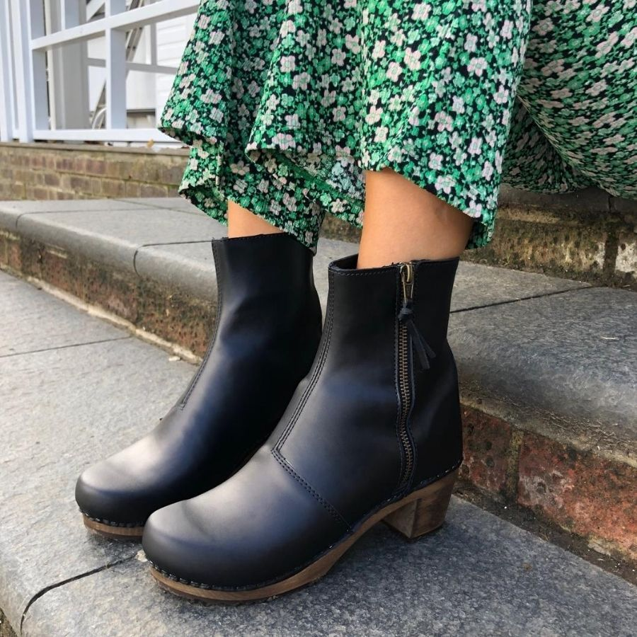 Lotta's Emma Clog Boots in Black Leather